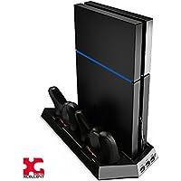 Xcellent Global Estación de Carga Vertical con Ventilador Refrigerador Puertos de Carga Dual y Puertos USB HUB para Consola PS4 PlayStation 4 y Controladores Mando Analógico PC021