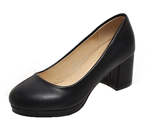 Voguezone009 donna luccichio punta tonda tacco medio tirare puro ballet-flats, nero, 38