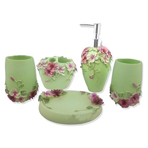 HQdeal Bad-Accessoires-Set, 5-teilig, Blumen-Design Bloom, Badezimmer-Set Seifenspender, Zahnbürstenhalter/Zahnputzbecher, Seifenschale- Grün