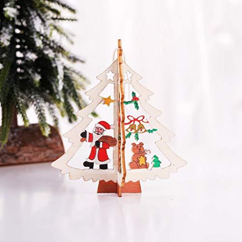 Deko Weihnachten, QHJ Weihnachtsbaum Kleine Anhänger Aus Holz fünfzackigen Stern Glocke Weihnachtsschmuck Weihnachtsbaum DIY Deko, Weihnachten Dekoration Anhänger (A)