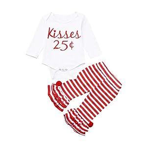 catmoew Baby Mädchen Sets (0M-18M) Kleidung Kinder Baby Brief Drucken Top Valentinstag Strampler Streifen Hosen Set mädchen Kleider Baby kinderkleidung Babykleidung