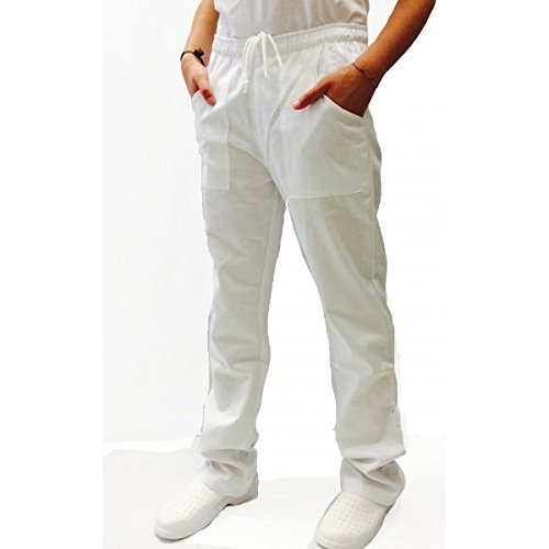 Pantalone Unisex Bianco cotone 100% con Coulisse Made in Italy tg. L 48/50 IT