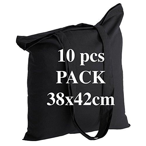 Qualität Baumwolltasche Jutebeutel 10 Stück 145 g/m2 Größe 38x42 cm langen Henkeln 70 cm Schwarz 100% Baumwolle. Das beliebteste Modell.