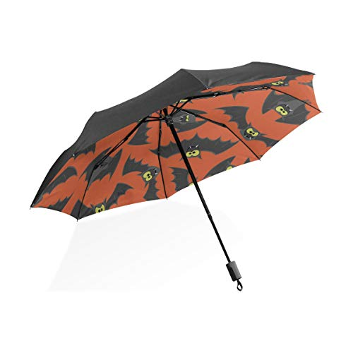 ier Fledermaus Schwarz Tragbar Leicht Kompakt Taschenschirm UV Schutz Wasserdicht Sonnig Winddicht Regensicher Rippe Outdoor Reise Frauen Männer Kind ()