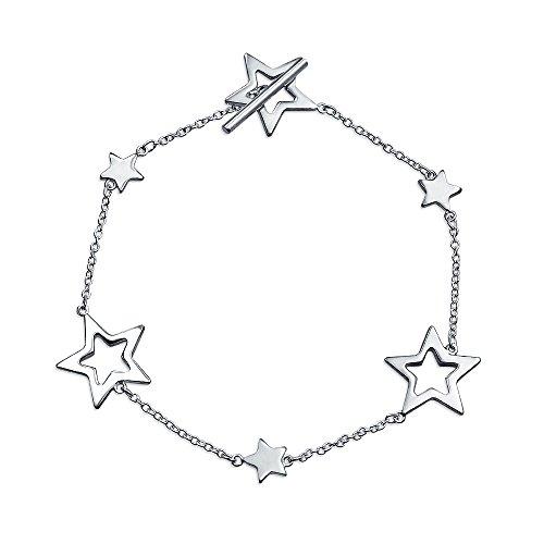 Patriotische Öffnen Stars Rock Star Armband Für Damen Für Jugendlich Aus Poliertem Sterling Silber Toggle Verschluss