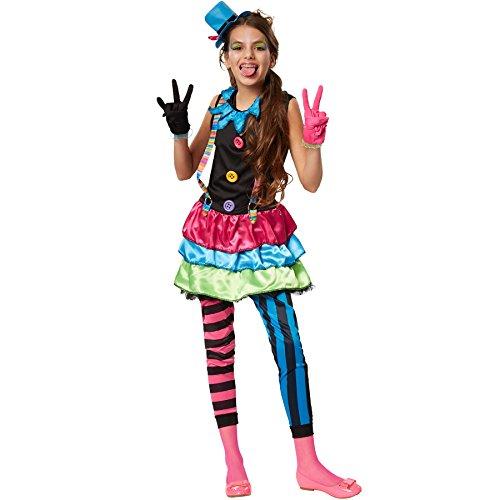 dressforfun 900336 - Mädchenkostüm Crazy New Wave Clown, -