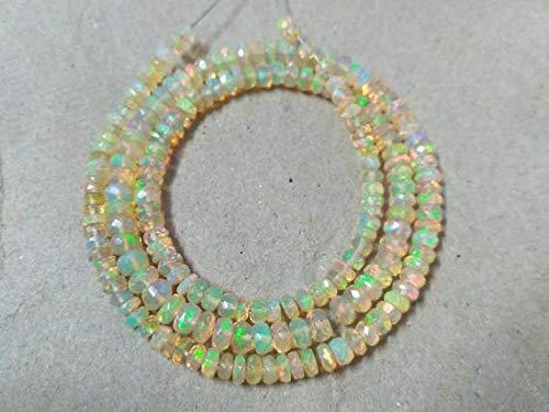 LOVEKUSH 50% Off Gemstone Jewellery 1 Strand Transparent Ethiopian Opal Faceted Rondelle Beads 3-5mm 15
