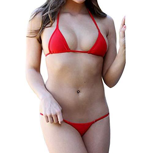 Sliding Top-panels (SHERRYLO Bademode Damen Mini Micro Bikini Solid Badeanzug Sexy Thong Swimsuit)