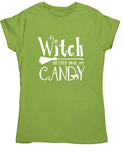 Hippowarehouse Hexe Besser Kriegen My Candy Womens Ausgestattet Kurzarm t-Shirt - Kiwi, Medium Km Candy