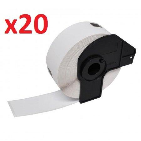 Prestige Cartridge DK-11201 - Cinta para impresoras de etiquetas Brother (29 mm x 90 mm, 20 rollos) color blanco