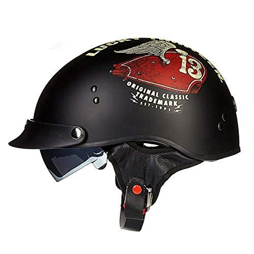 LPC ABS-Material Motorrad Helm Männlich Und Weiblich Harley Halbe Helm Sommer Graffiti Prince Helm Persönlichkeit Mode Paar Helm Schwarz Rot Mode (Size : XL)