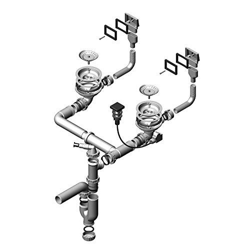ALVEUS Doppelsiphon/Pop-up siphon/Ab- und Überlaufgarnitur mit Drehexcenter und Doppelsiphon für die Spülen QUADRIX, GLASSIX 20 und VARIANT