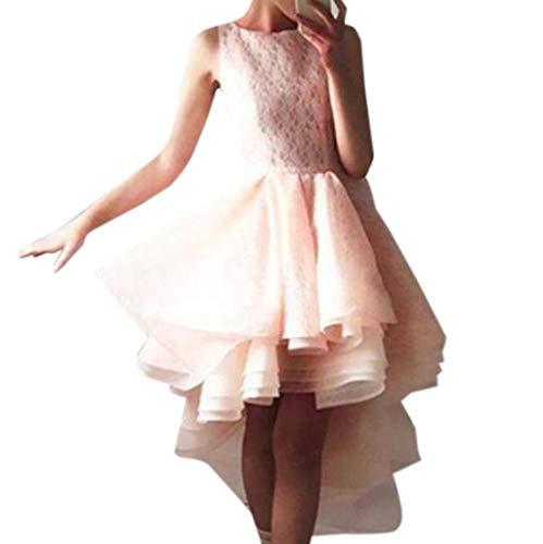 Ärmelloses Kleid,VRTYOC Sexy Frauen O Hals ärmellose Spitze unregelmäßigen Saum Vintage Kleid Abend Party Kleid Damen Sexy Ärmel Taille Puff Kleid (L, Rosa) -