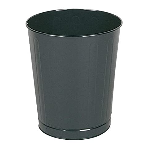 Fire-Safe Wastebasket, Round, Steel, 6.5gal, Gray by Rubbermaid Commercial Products