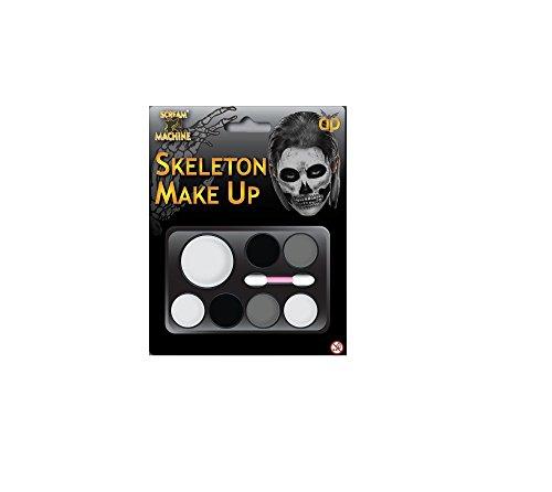 en Klaue Hörner Sfx Kit Handschuhe Lack Maske Kap Makeup Latex Blut Perücke Zubehör (Skelett machen sich auf) ()