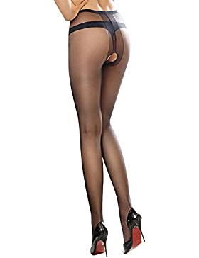 Huahan Extension Women Sexy Sheer Thigh-High Medias Medias wear, entrepierna abierta medias para el sexo