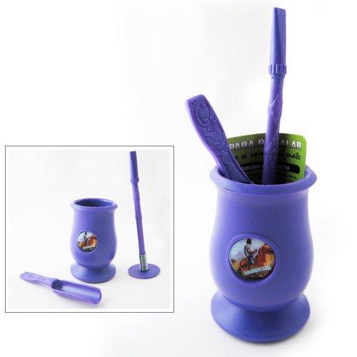 Yerba Mate Kits (Argentinien Mate Flaschenkürbis Yerba Kunststoff Tea Cup mit Stroh Bombilla Kit Geschenk 9334PUR)