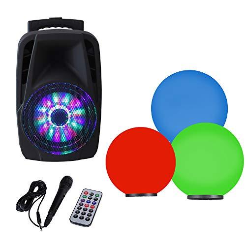 Kugelleuchten 3er Party Set + RGB Farbwechsel + mobile Soundanlage 300W + Mikrofon| Gartenbeleuchtung 20 cm, 30 cm & 40 cm Ø, Außenleuchten, weiße Gartenlampen, Innen & Außen, Gartenkugeln Soundbox