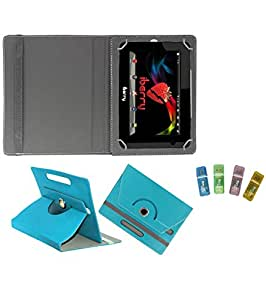 Gadget Decor (TM) PU Leather Rotating 360° Flip Case Cover With Stand For HCL ME U2 Tablet + Free USB Card Reader - Aqua Blue