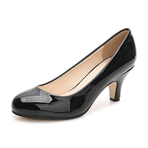 OCHENTA Femme Escarpins Talon Aiguille Hauteur 6 CM Chaussure Talon Moyenne Noir Verni Taille Asiati