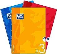 OXFORD Lot de 3 Cahiers OpenFlex Couverture Polypro 24x32 cm Grands Carreaux Seyès 96 Pages 90g Couleurs Assor