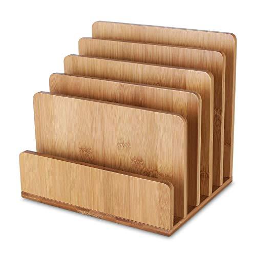 Homfa Archivador bambú Estantes Documentos 5 Compartimentos