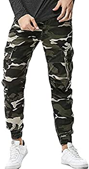 Suncolor8 Men Cotton Casual Multi-Pockets Ripstop Camo Print Cargo Jogger Pants Trousers