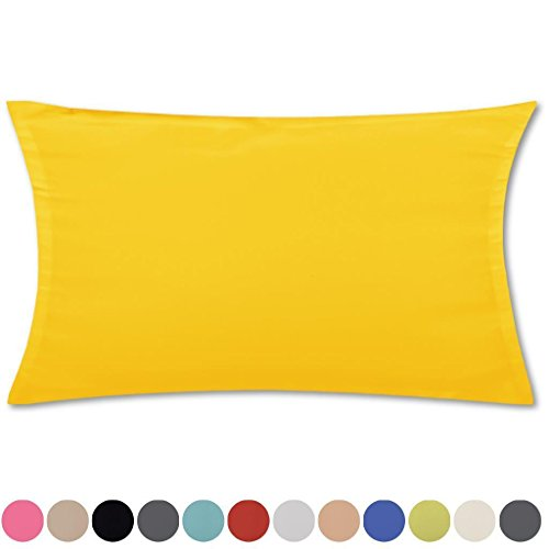 Bestlivings Kissenhülle Kissenbezug Microsatin in über 150 Varianten, Auswahl: ca. 40cm x 80cm Gelb - Sonnengelb