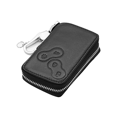Genuine Leather Zipper Bag Key Case Holder Cover fit for Renault Smart Card 4 Button 5360