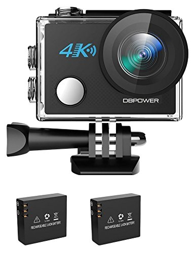 DBPOWER N5 4K Action Kamera, 5X Zoom 20 Megapixel WLAN Sportkamera Ultra HD Wasserdichter DV Camcorder mit 170° Weitwinkelobjektiv & 2 Zoll LCD Display samt 2 aufladbaren Batterien und viel