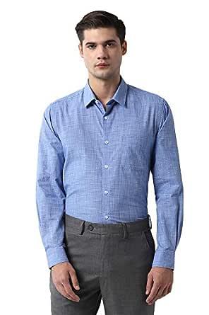 Peter England Men's Printed Slim fit Formal Shirt (PESFMSLF429847_Blue 44)