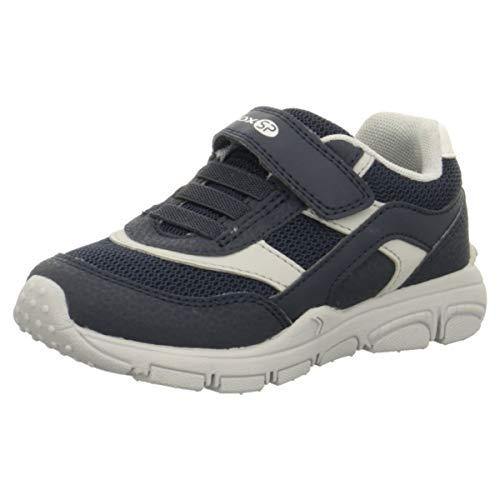 Geox New Torque Boy J847NA Jungen Slip-on Sneaker,Kinder Halbschuh,Sportschuh,Slipper,Gummizug,Klettverschuss,Navy/Grey,27 -