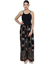 Stylish Animal Printed And Comfortable Black Color Palazzo Pants / Trousers For Women Free Size