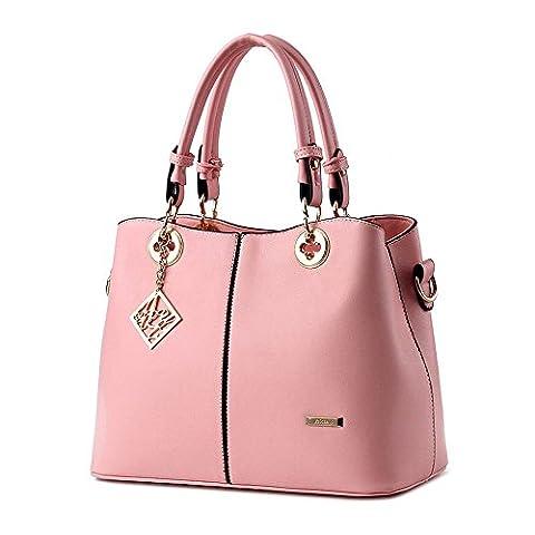Koson-Man Womens PU Leather Sling Vintage Tote Bags Top Handle Handbag(Pink)