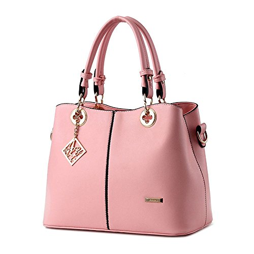 koson-man-womens-pu-leather-sling-vintage-tote-bags-top-handle-handbagpink