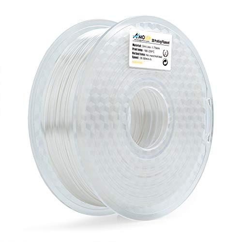 Amolen stampante 3d filamento pla 1.75mm, seta bianca 1kg,+/- 0.03mm materiali filamenti per stampanti 3d, include campione bronzo filamento.