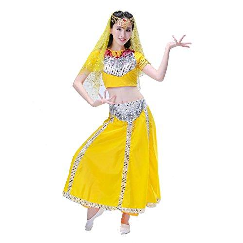 MoLiYanZi Womens Dancewea Profi Bauch Set Sequin Tanz Rock Bauchtanz Halloween Karneval Kostüm Farbig Schleier + KopfChain + Top + Hose , Yellow , xxxl