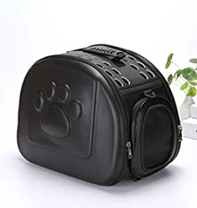 24x7 eMall Pet Carrier, Solid Colours Hard Cover Portable Tote Soft Breathable Comfort Transport Shoulder Bag for Small cat Dog – 42 x 26 x 32cm (Black)