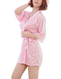 Aelegant Femme Été Pyjama Robe de Nuit Lingerie Vêtement Manches Longues Sexy Nuisette Babydoll Vêtement de Nuit