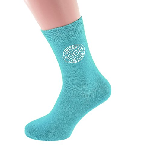 Limited Edition 1968 50th Birthday Ladies Turquoise Socks UK 4-8 - X6N250-TURQ-1968