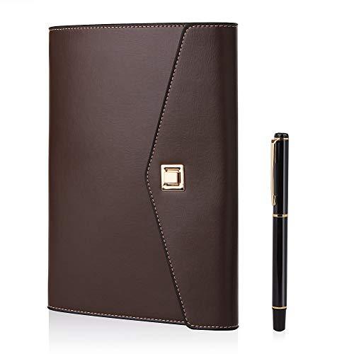 BESTOO Notizbuch A5 Leder Filofax Nachfüllbare Tagebuch Executive Konferenzmappe 6 Ring-buch mit Drehschalter, Geschenk für Männer und Frauen(Kaffee)