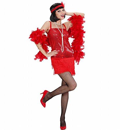 Widmann 70321 - Erwachsenenkostüm Charleston - Kleid und Stirnband mit Federn, Größe S, (Red Flapper Kostüme Fashion)