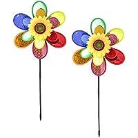 com-four® 2X carillón de Viento, Flor de Molino de Viento, Molino de Viento, Que Llama la atención de su jardín (2 Piezas)