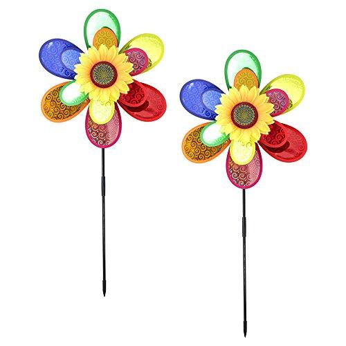 Com-Four ® 2x Carillon, éolienne, fleur, Moulin à vent, Toller hingucker pour votre jardin (Lot de 2)
