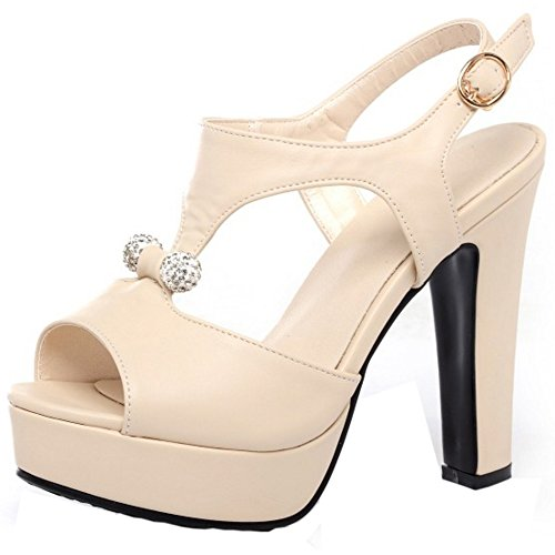 TAOFFEN Damen Blockabsatz Shoes Wedding Dress Sling back Sandalen Beige