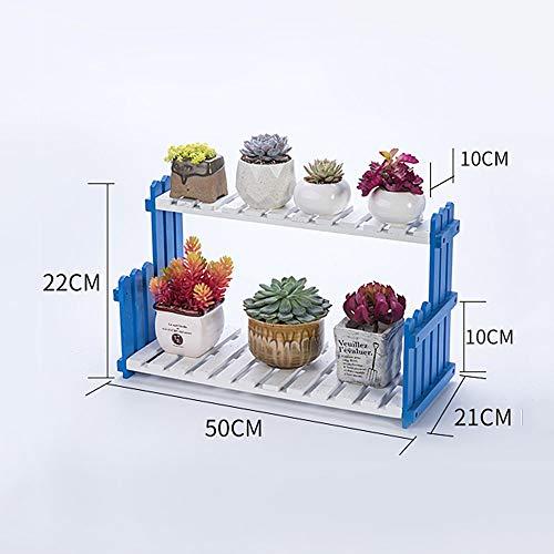 CLLCR Support de Fleurs - Multicouche Support de Pot de Fleur Sol en Bois Massif Protection de l'environnement Simple étagère de Fleurs Balcon Salon Succulentes Bonsaï Cadre,50 * 22cm