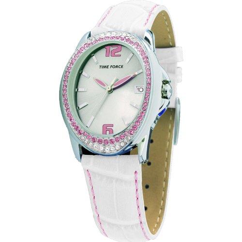 Montre Time Force de Mrs. Acier Bracelet en cuir Cadran argenté. tf-2982l02