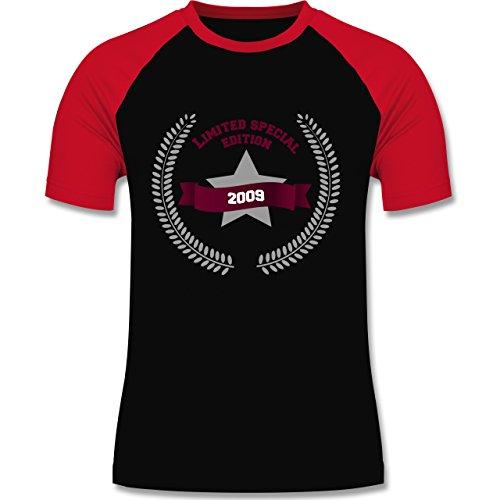 Geburtstag - 2009 Limited Special Edition - zweifarbiges Baseballshirt für Männer Schwarz/Rot