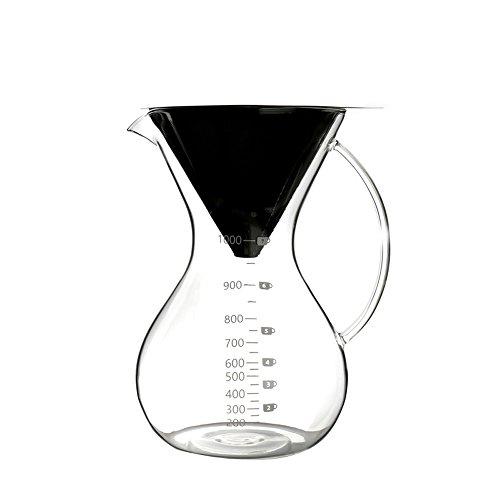 Sheny pour over Kaffeebereiter Hand Kaffee Edelstahl Handfilter +Glaskörper (1000ml)