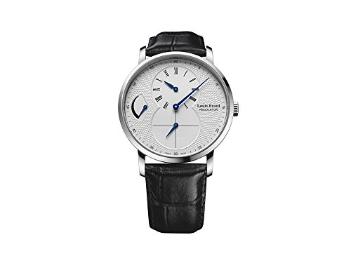 Montre Manuel Louis Erard Excellence Gents Regulator, Argent, Bracelet en Cuir